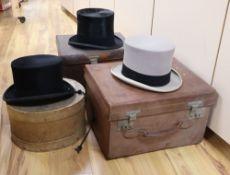 Four Victorian Locke & Co silk top hats