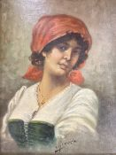 Italian School c.1900, oil on canvas, Portrait of a young woman, indistinctly signed, 25 x 20cm