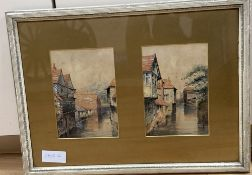 Cleo, two watercolours, Blackfriars and Kings Bridge, Canterbury, titled, dated 1889 and signed