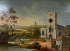 Victorian School, oil on wooden panel, Landscape with church and windmill inset with a watch dial,