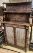 An early 19th century rosewood chiffonier fitted two-tier superstructure, width 79cm depth 36cm