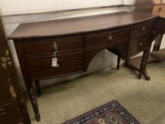 A Regency mahogany bowfront sideboard, width 145cm depth 51cm height 82cm