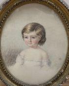 Victorian School, watercolour, Portrait of Evelyn John Fieldhouse, 1887, 20 x 15cm