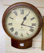 A mahogany drop dial wall clock with single fusee, height 47cm