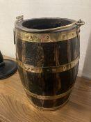 A brass bound staved wood bucket, diameter 26cm height 38cm