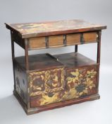 A Japanese lacquered table cabinet, height 26cm