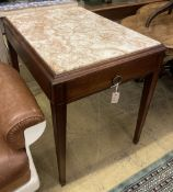 An early 20th century Continental marble top centre table, width 92cm depth 64cm height 76cm