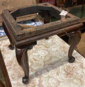 A Victorian rosewood dressing stool frame, width 40cm depth 40cm height 36cm