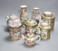 A group of Chinese famille rose tea wares and vases, 18th/19th century, tallest 20cm, (8),