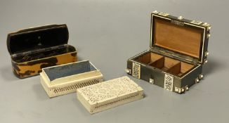 Three boxes including a horn veneered box, a tortoiseshell and bone