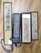 Eleven Chinese embroidered silk sleeve panels, late Qing, framedCONDITION: Provenance - Alfred