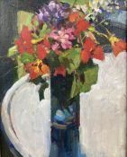 John Speirs, oil on canvas board, Still life of flowers in a glass vase, 24 x 19cm