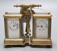 A brass miniature carriage clock/ barometer