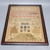 A framed George III sampler, dated 1818, 43 x 33cm, framedCONDITION: Small tear by top left side
