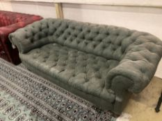 A Victorian buttoned fabric Chesterfield settee, width 180cm depth 82cm height 65cm