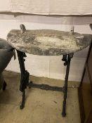 A Victorian cast iron marble top D shape table, width 76cm depth 39cm height 76cm