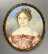 Continental School (19th century), miniature watercolour portrait of a young lady, probably Princess