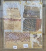 A framed group of pre-Columbian textile fragments, from Christian burials in Egypt 4th-5th