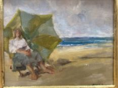 Italian School, oil on canvas board, Woman seated on a beach, indistinctly signed and dated, 19 x