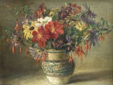Catherine M. Wood (Exh.1880-1939), oil on canvas board, Still life of flowers in a Poole pottery