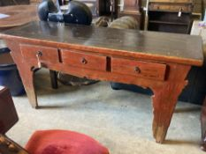 A Chinese painted three drawer altar table, length 172cm, width 52cm, height 84cm