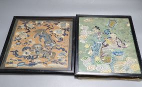Two Chinese embroidered silk panels of He Xiangu riding a dragon and two Buddhist lions amid