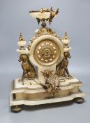 A French gilt metal and alabaster mantel clock, height 49cm