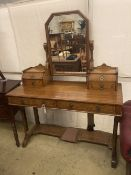 A Victorian Aesthetic movement pitch pine dressing table, width 122cm depth 52cm height 160cm
