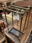 A Victorian brass and cast iron six division stick stand, width 32cm depth 19cm height 62cm