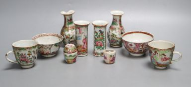 A group of Chinese famille rose tea wares and miniature vases, 19th century, tallest 9.5cm,