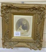 A Victorian framed photograph portrait of a mother and child