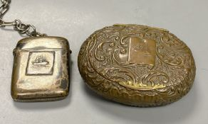 A Victorian oval commemorative snuff box, made from copper from HMS Foudroyant and a similar