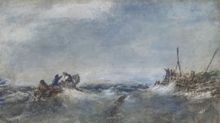 Edwin Hayes (1820-1904), watercolour, Fishing boat leaving the harbour, signed in pencil, 12 x 21cm