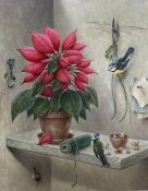 Marcus Stone, oil on canvas, Still life of a poinsettia and blue tits, signed, 55 x 45cm