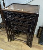 A Chinese nest of four hongmu tables, width 50cm depth 36cm height 72cmCONDITION: Provenance -