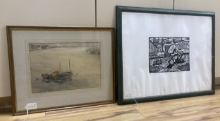 Francis S. Leke, watercolour, Fishing boats at anchor, signed and dated '72, 25 x 36cm, and a