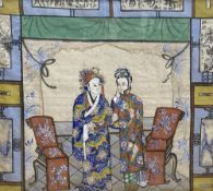 Chinese School c.1900, watercolour and gouache on silk, Interior with two standing figures,