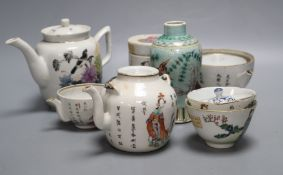 A group of Chinese famille rose tea wares and 'fish' vase, late Qing / Republic, damageCONDITION: