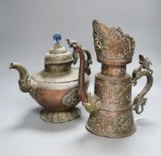 A 19th century Tibetan duomuhu ewer and a teapot, tallest 31cmCONDITION: Provenance - Alfred