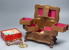 A small collection of paste-set buckles and miscellaneous items, including a Swiss carved wood