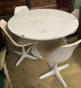 A circular tulip style table and four chairs, table diameter 121cm