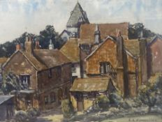 Ethel L. Rawlins (1880-1940), watercolour, Ditchling church from the Sandrock car park, signed, 37 x