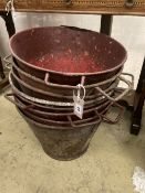 Eight early painted metal florist buckets, diameter 48cm height 36cm
