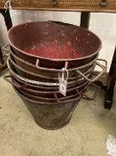 Eight early painted metal florist buckets, diameter 48cm height 36cm