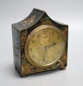 A chinoiserie black japanned mantel timepiece, height 14cmCONDITION: Provenance - Alfred Theodore