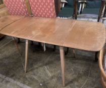 An Ercol elm drop-flap dining table, extended 130cm depth 74cm height 70cm