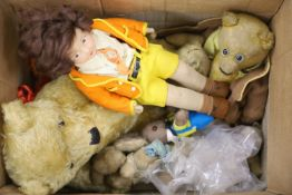 A collection of teddies and a Norah Wellings felt doll