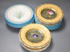 A 19th century Worcester botanical part dessert service ( 9-pce) and a Paris porcelain botanical
