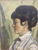 Lewellyn Petley-Jones (1908-1986) Canadianunframed oil on canvas,'Mrs Graham Eyre',signed and