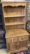 A small Victorian style pine dresser, length 92cm, depth 62cm, height 190cm
